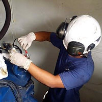 Engineer testing turbine