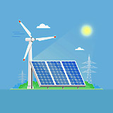 Solar power plant and factory. Solar panels. Renewable energy industrial concept
